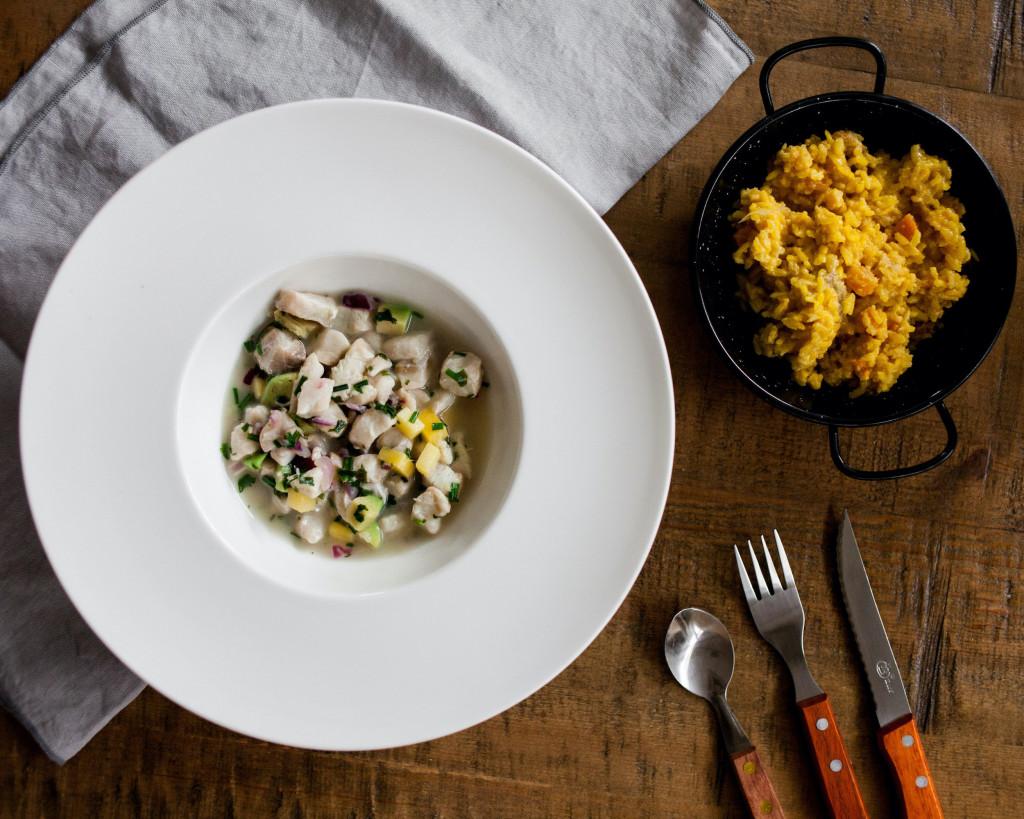 Lunch&Dinner. Ceviche de corvina y risotto de calabaza y panceta